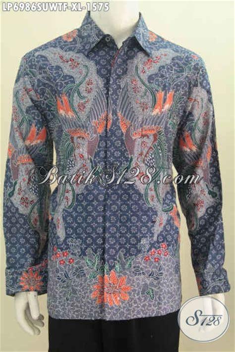 baju batik hem size xl untuk pria dewasa berbahan twist motif proses tulis tangan