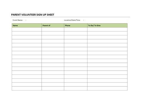 volunteer sign up sheet template parent volunteer sign up sheet
