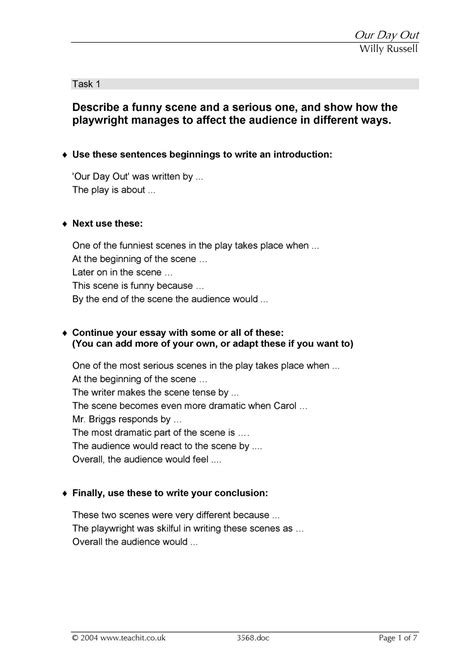 KS4 | Our Day Out by Willy Russell | Teachit English