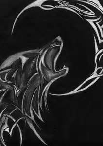 Tribal Wolf and Moon