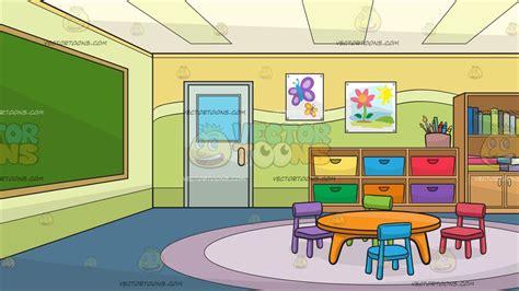 Inside A Kindergarten Classroom Background Cartoon Clipart