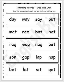 rhyming words odd   worksheet englishbix