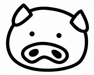 Pig Head Clipart Black And White - ClipartXtras