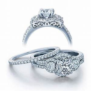 Gia certified 2 carat princess cut diamond vintage wedding for 2 carat wedding ring sets