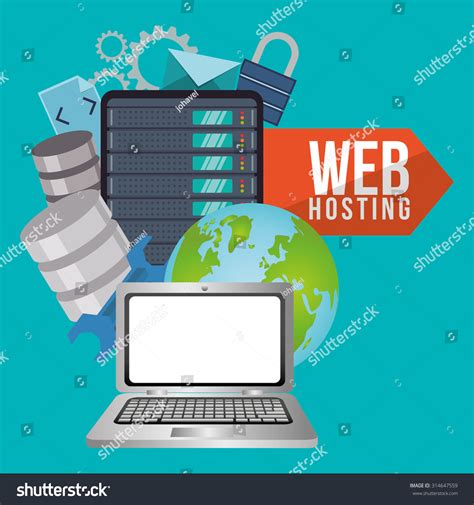 Web Hosting Concept Cloud Computing Icons Stock Vector