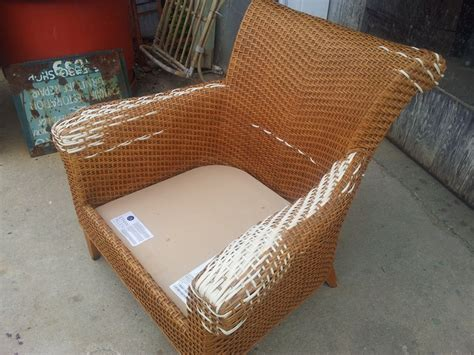 ethan allen arm chair repaired caning wicker
