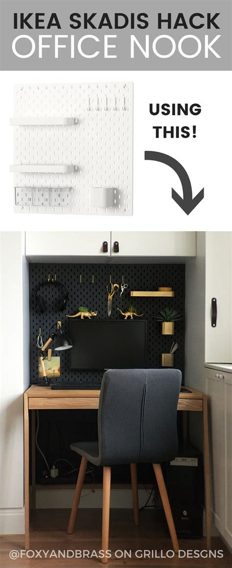 ikea skadis hack   mini office nook grillo designs