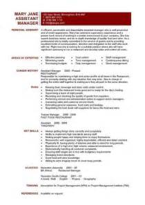 Assistant Manager Description For Resume by Assistant Manager Resume Exles The Best Letter Sle