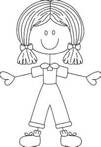 Girl Stick Figure Coloring Page