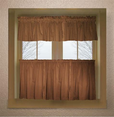 copper brown color tier kitchen curtain  panel set