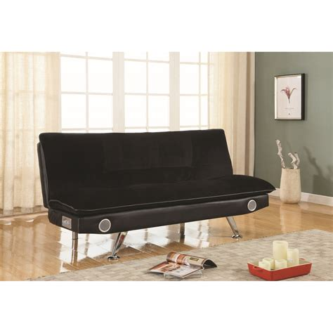 futon black black leatherette futon sofa bed with bluetooth speakers