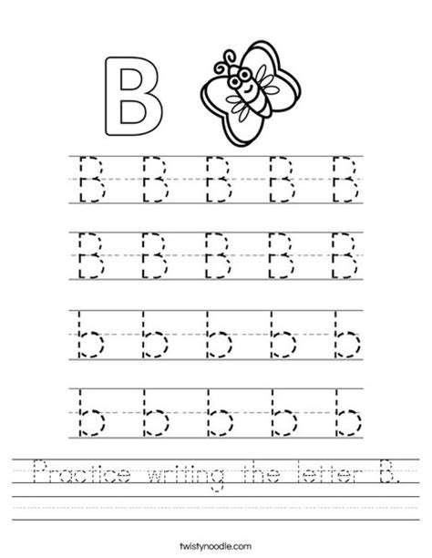 Practice Writing The Letter B Worksheet  Twisty Noodle