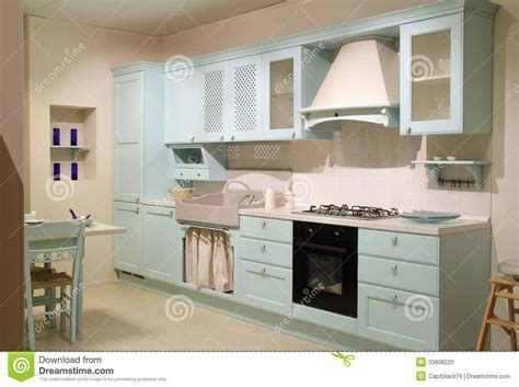 Country style cyan kitchen stock photo. Image of brown