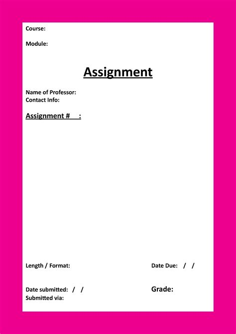 What To Put On A Cover Page For A Resume by Assignment Template Word Masir