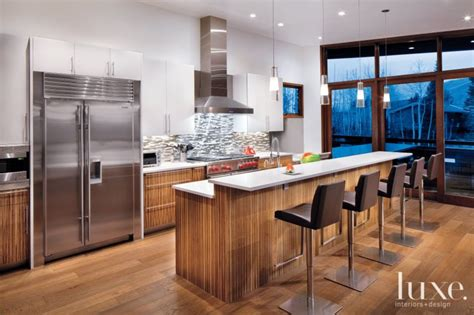 modern kitchen  zebrawood cabinetry luxe interiors