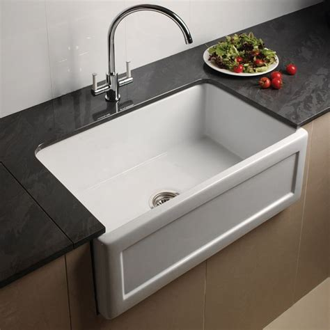 kitchen sinks uk astini belfast 760 1 0 bowl recessed white ceramic kitchen 3063
