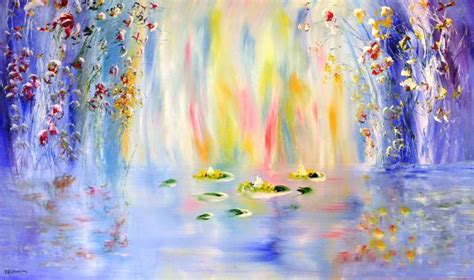 modern metal wall saatchi lilies inspired by claude monet painting by