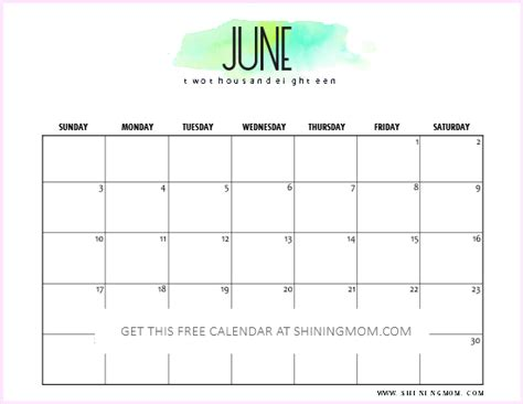 calendar template june 2018 free printable june 2018 calendar 12 amazing designs