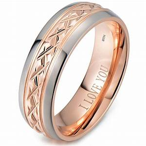 rose gold tone titanium wedding ring engraved inside with With engagement ring with wedding band inside