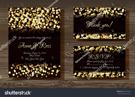 Unique Vector Wedding Cards Template Gold Stock Vector