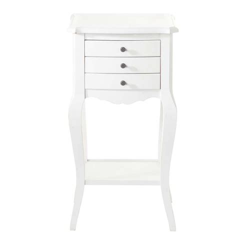 table de chevet avec tiroirs en bois blanche l 37 cm s 233 raphine maisons du monde