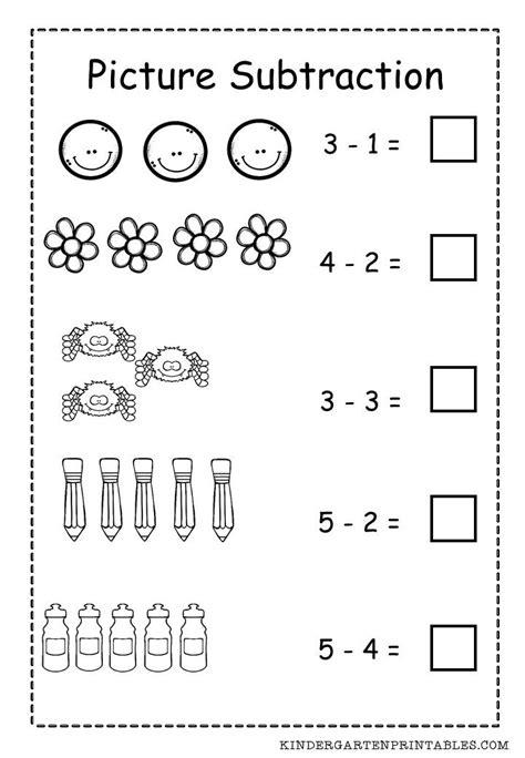 basic picture subtraction worksheet  printable basic