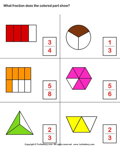 Identify What Fraction Of Whole Is Colored Worksheet  Turtle Diary