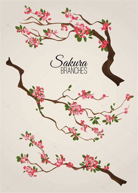 Rama de cerezo de Japón sakura realista con flor flores