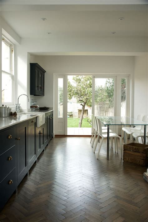 kitchen cabinets and flooring pantry blue and parquet a match the devol 5900