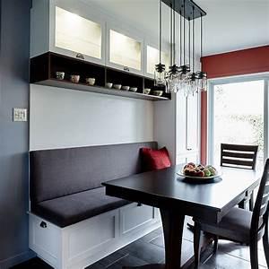 cuisine contemporaine avec banquette et huche vitree With coin cuisine avec banquette
