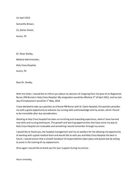 Sample Resignation LetterWriting A Letter Of Resignation Email Letter Sample   Resignation