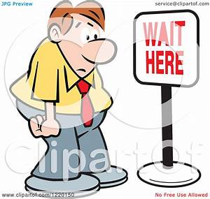 Clipart of a Defeated Businessman in Front of a Wait Here ...