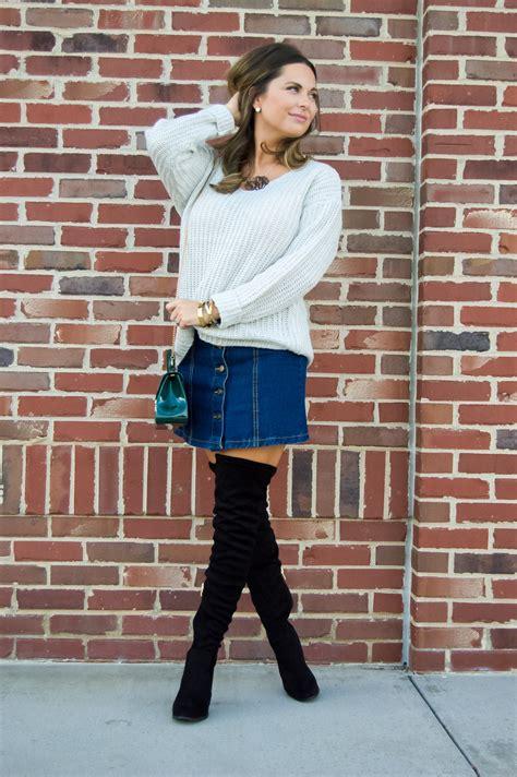 cozy sweater denim skirt otk boots sabby stylesabby style