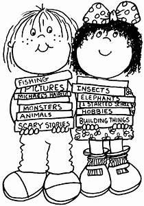 Dibujos para colorear de niños leyendo cuentos - Imagui