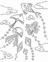 Kite Colouring Coloring Printable Clipart Pages Drawing Transparent Children Museprintables Webstockreview sketch template