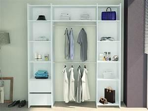 Armoire Dressing Blanche : armoire dressing garance l186 x h210 x p45 cm blanc ~ Premium-room.com Idées de Décoration