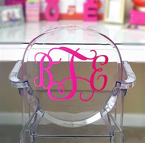 large decal monogram ghost acrylic chair  inches height