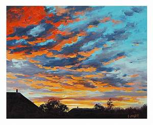 SUNSET OIL PAINTING sunrise Painting rural farm Landscape