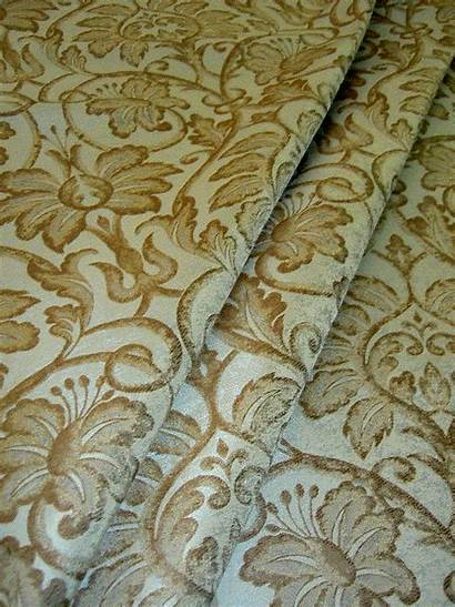 Fabric Upholstery Damask Silk Brown Drapery Remnant