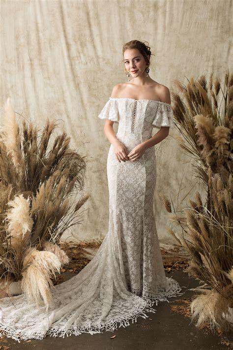 callista lace bohemian wedding dress dreamers  lovers