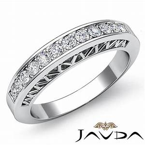 womens half wedding band platinum pave set diamond unique With women s platinum wedding rings