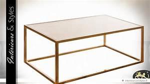 Table Basse Dorée : table basse design m tal dor et verre champagne int rieurs styles ~ Teatrodelosmanantiales.com Idées de Décoration