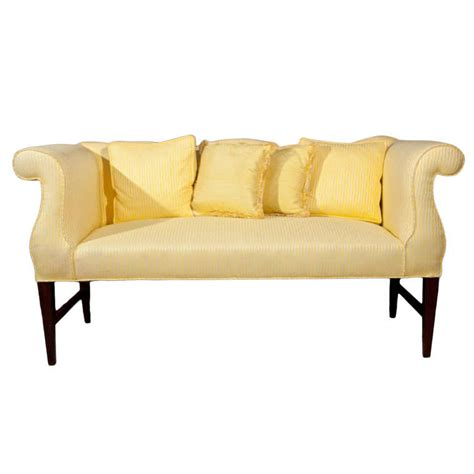 Settee With Arms by Vintage Settee With Camel Back And Rolled Arms At 1stdibs