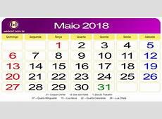 Calendário de Maio de 2018 webcid