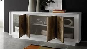 Bahut Blanc Laqué Design : buffet moderne laqu blanc mat 4 portes en bois brann gdegdesign ~ Teatrodelosmanantiales.com Idées de Décoration