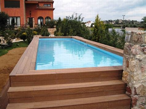 Swimming Pool, Rectangular Above Ground Pool With Wooden