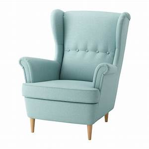Strandmon fauteuil a oreilles skiftebo turquoise clair for Ikea fauteuil tissu