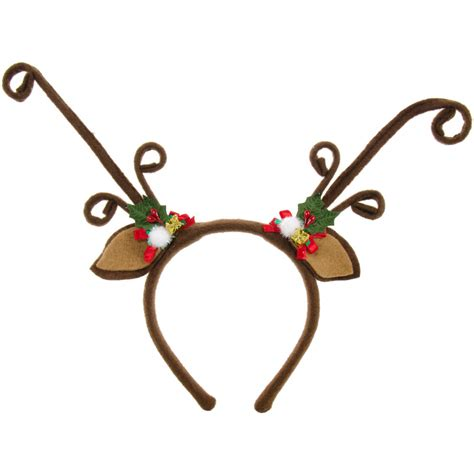 felt brown reindeer antlers headband with holly 26536bnaj