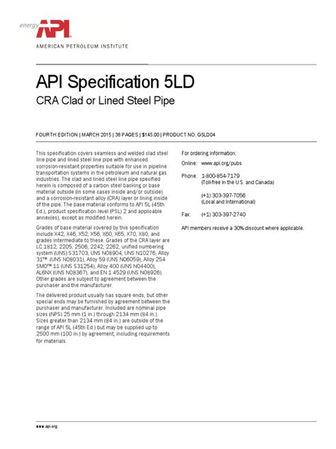Index of API 5LD 4th | Pipe (Fluid Conveyance) | Welding