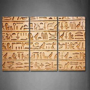 3 piece brown wall art painting egyptian made of wooden With egyptian wall art